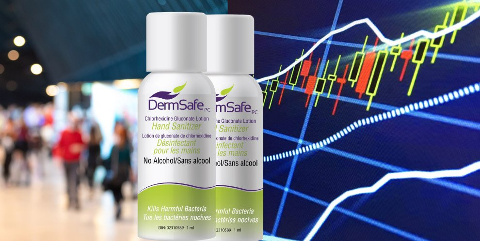 picture of dermsafe hand sanitizer and stock market chart going up