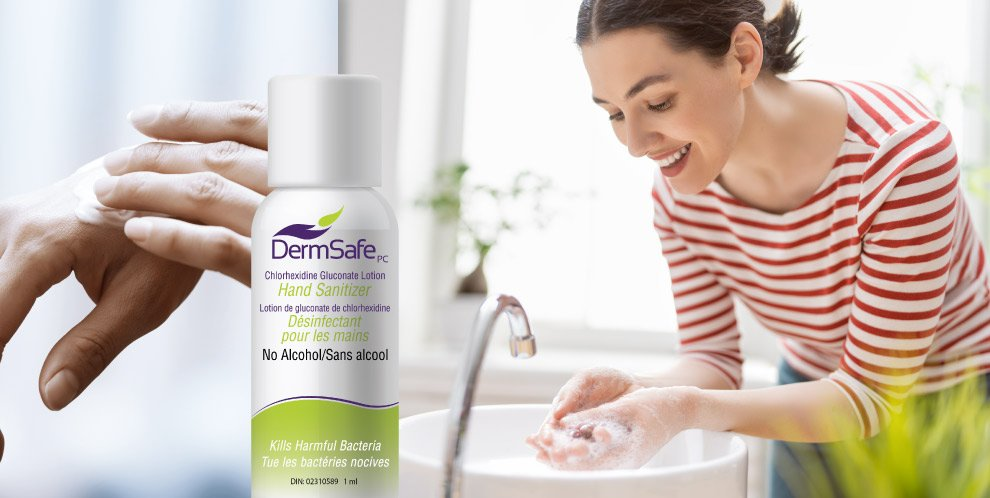 Picture of DermSafe hand sanitizer and a woman washing her hands with hands affected by hand dermatitis